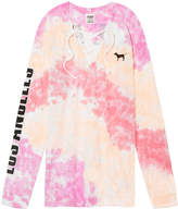 PINK Long Sleeve Lace-Up Campus Tee