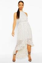 boohoo Polka Dot High Neck Shirred Waist Maxi Dress