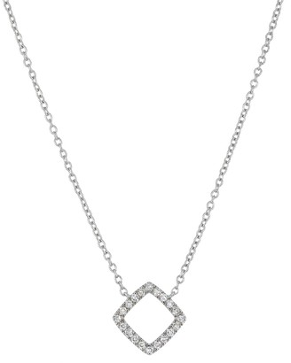 Carriere Sterling Silver Pave Diamond Open Square Pendant Necklace - 0.11 ctw
