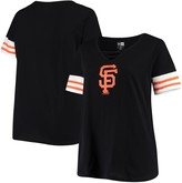 New Era Women's Black San Francisco Giants Plus Size Stripes Baby Jersey V-Neck T-Shirt