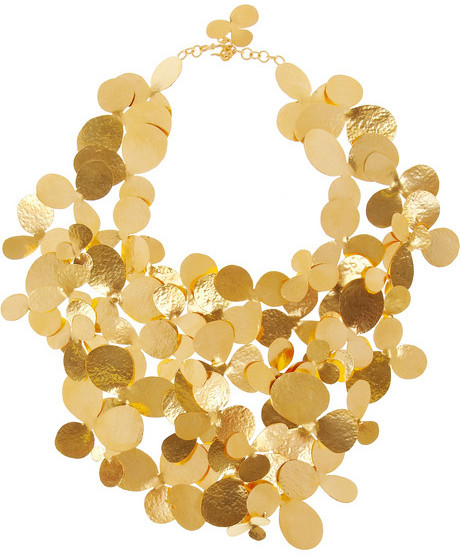 Herve Van Der Straeten Hammered gold-plated bib necklace