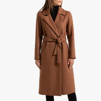 La Redoute Collections Long Wool Mix Coat with Belt and Pockets