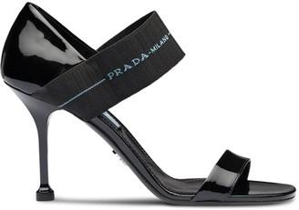 Prada Elasticated logo strap sandals