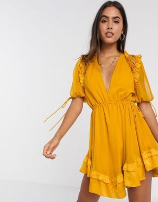 ASOS DESIGN mini dress with satin trim ruffle and tie detail
