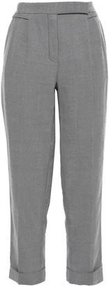 Amanda Wakeley Cropped Herringbone Wool Tapered Pants