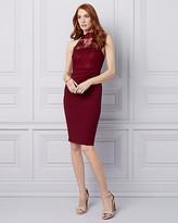 Le Château Lace & Knit Crepe Halter Cocktail Dress