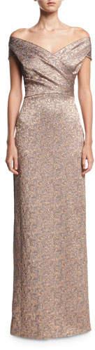 Rickie Freeman For Teri Jon Off-the-Shoulder Metallic Jacquard Evening Gown