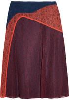 Tory Burch Kassia Paneled Lace Skirt - Navy