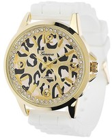 Geneva Platinum Women's Rhinestone Animal Print Silicone Strap Watch