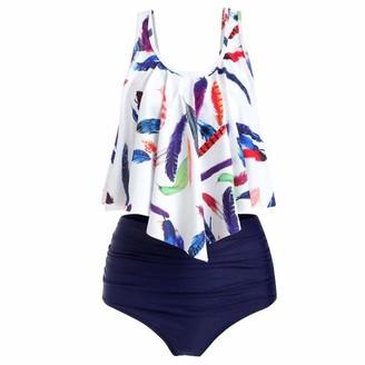 MRULIC Bikini Sets Women's Plus Size Ruffled Leaf Print Swimsuit Tummy Control Split Bathing Suit Navy