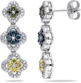Julie Leah 1 CT TDW Multi-Colored Diamond Silver Earrings