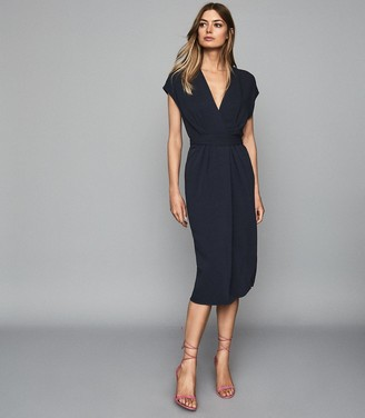 Reiss MAXIME WRAP FRONT SLIM FIT DRESS Navy