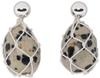 Bottega Veneta Silver Dalmatian Bead Drop Earrings