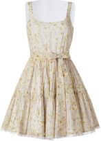 RED Valentino Valentino R.E.D. Green-Multi Daisy Print Cotton-Silk Dress