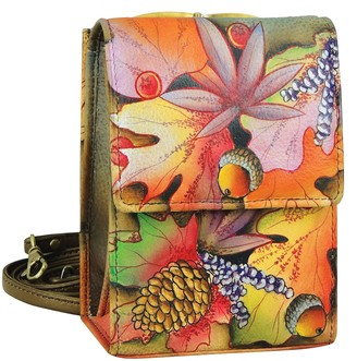 Anuschka Women's Genuine Leather Handbag - Triple Compartment Accordion Style Sling Crossbody - Fall Fiesta