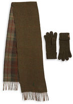 Polo Ralph Lauren Reversible Wool-Blend Fringed Scarf and Knit Gloves Set