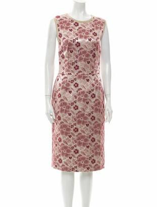 Dolce & Gabbana Floral Print Midi Length Dress Pink
