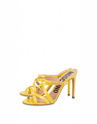 Moschino Mini Lettering Patent Leather Sandals Woman Yellow Size 36 It - (6 Us)