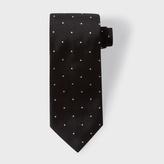 Paul Smith Men's Textured Black Pin Polka Dot Silk Tie