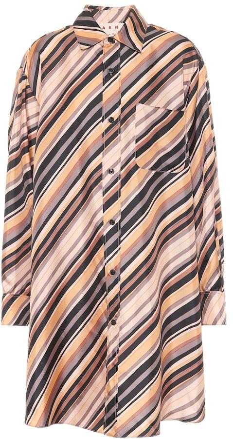 Marni Striped silk shirt dress