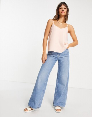 ASOS DESIGN double layer v neck recycled cami in blush