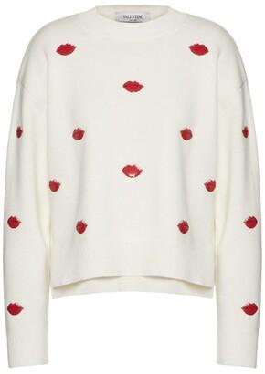 Valentino Wool-Cashmere Lip Print Sweater