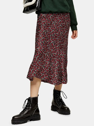 Topshop Ditsy Floral Flounce Midi Skirt - Red