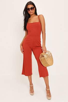 I SAW IT FIRST Rust Ribbed Strappy Straight Neck Jumpsuit