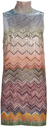Missoni Sequined Knit Chevron Mini Dress