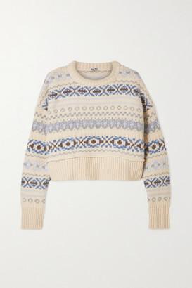 Miu Miu Cropped Fair Isle Wool Sweater - Cream