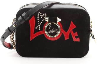 Christian Louboutin Rubylou Love Crossbody Bag Suede and Leather Mini