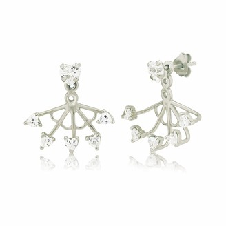 Ingenious Jewellery Sterling Silver Swing Earrings with Cubic Zirconia Heart Stud and 5 Small Cubic Zirconia Hearts