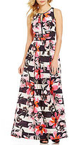 Vince Camuto Keyhole Sleeveless Floral Printed Maxi Dress