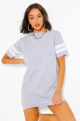 boohoo Stripe Sleeve T-Shirt Dress