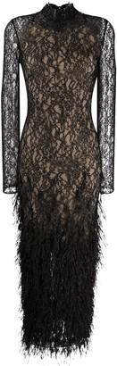 RALPH & RUSSO Lace Feather-Embroidered Grown