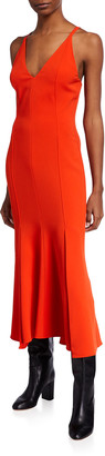 Victoria Beckham V-Neck Cady Flared Midi Dress