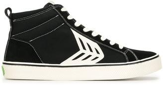 Cariuma CATIBA High Stripe Black Suede and Canvas Contrast Thread Sneaker