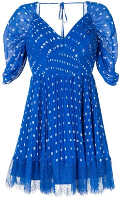 Self-Portrait Polka-Dot Pleated Mini-Dress
