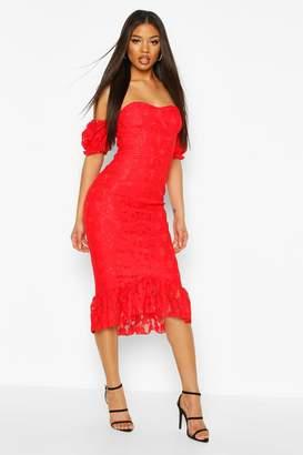 boohoo Cupped Frill Hem Lace Midi Dress