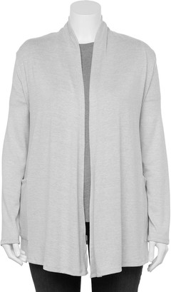 Croft & Barrow Plus Size Open-Front Draped Cardigan