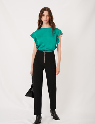Maje Sleeveless T-shirt with ruffles