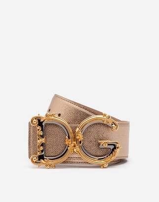 Dolce & Gabbana Belt In Laminated Dauphine Calfksin With Baroque