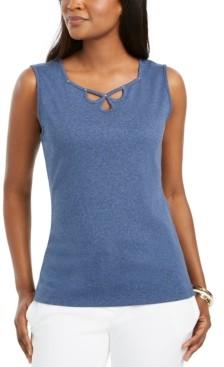 Karen Scott Triple-Keyhole Studded Tank Top, Created for Macy's