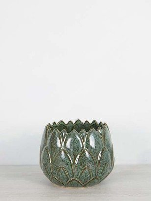 Madam Stoltz - Stoneware Green Leaf Plant Pots Large