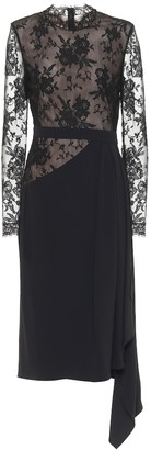 Alexander McQueen Lace and crepe midi dress