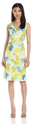 Caribbean Joe Women's Printed Cotton Slub Sleeveless Dress in Tropical Beauty Floral Hibiscus Palm Print