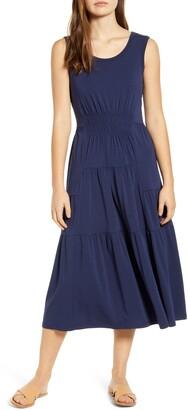 BeachLunchLounge Kamala Tiered Ruffle Jersey Midi Dress