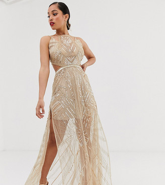 ASOS DESIGN Petite maxi dress with geometric embellishment and sheer panels