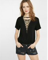 Express Lace-up Front Girlfriend Tee