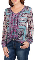 Lucky Brand Long Sleeve Paisley Peasant Top